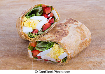 egg cheese and pepper sandwich wrap in tortilla