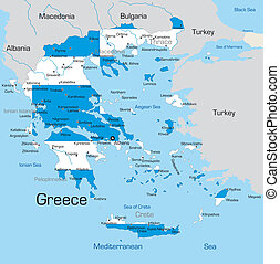 Greece - Abstract color map of Greece country coloured by...