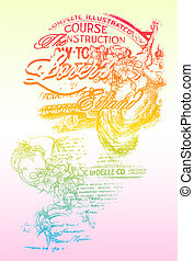 fancy rainbow colour flores with writing texture