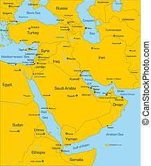 Middle East country - Abstract color map of Middle East...