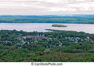 Spirit Lake and Island in Duluth Minnesota - Aerial of...