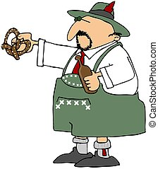 Oktoberfest Beer And A Pretzel - This illustration depicts a...