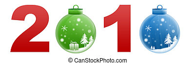 New Year 2010 - Isolated white background glossy two...