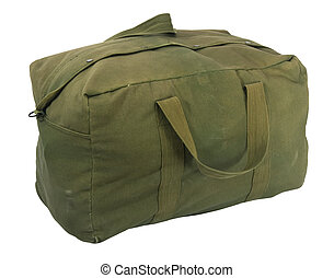 military green canvas duffel bag - fully loaded army style...