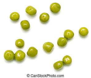 green peas on a white background. macro
