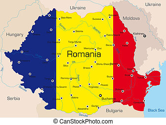 Romania - Abstract color map of Romania country coloured by...