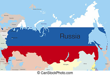 Russia - Abstract color map of Russia country coloured by...