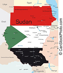 Sudan  - Abstract color map of Sudan country