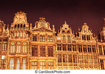 Grand Place - Detail of facades in Grand Place in Brussels...