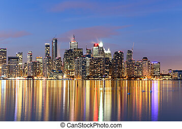 Buildings in downtown Toronto at twilight - Closeup to...