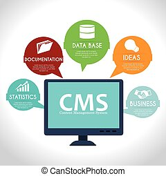 CMS design over white background vector illustration - CMS...