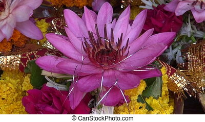 hinduism ritual religion lotus and other flowers in metal...