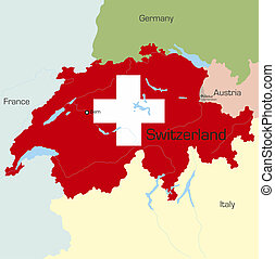Switzerland - Abstract color map of Switzerland country...