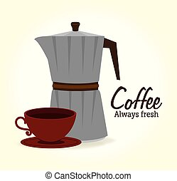 Coffee design over white background vector illustration -...