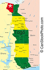 Togo - Abstract color map of Togo country colored by...