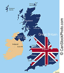 Great Britain - Abstract color map of Great Britain country...
