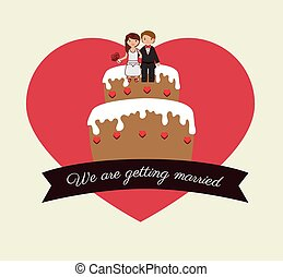 Wedding design over white background vector illustration -...