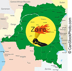 Zaire - Abstract color map of Zaire country colored by...