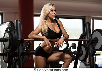 Beautiful Fit Healthy Woman In Gym Sports Clothing - Sexy...