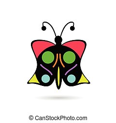 butterfly icon in color vector illustration on white