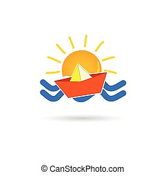 sun icon with paper boat vector illustration