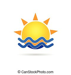 sun with blue sea icon vector illustration
