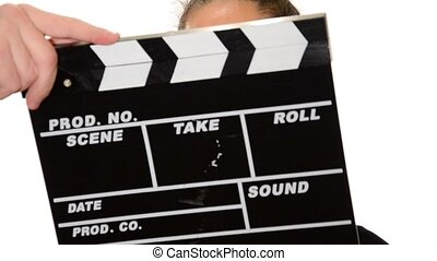 young actress - Clapboard and pretty girl over white...