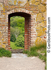 Stone Passage - Old brick gate with an arch