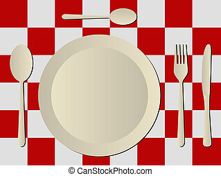 cutlery in plastic tablecloth