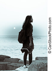 Dreamy Girl at Blue Hour Sunset - Silhouette of a beautiful...