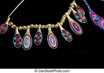colorful beads and other jewelry like necklaces bracelets