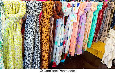 foulard, bufandas, de, Muchos, colores, y, Patrones,