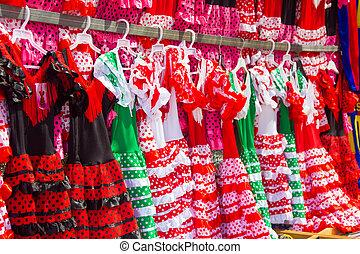 poco, niñas, brillante, colores,  Flamenco, vestidos