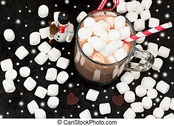 Hot chocolate with marshmallows cocoa bell love heart winter...