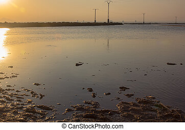 """banks of the """"Mar Menor"""" at sunset in Murcia, Spain"""