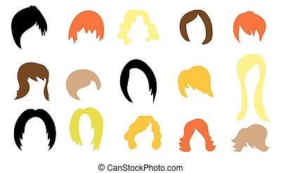 Set of colorful wigs on white background