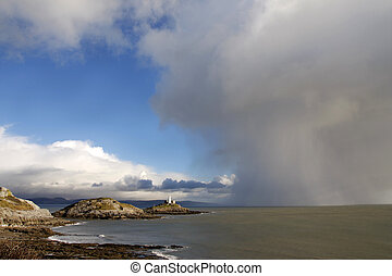 Lighthouse and approaching storm - Mumbles lighthouse,...
