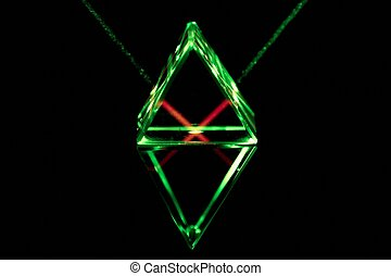 Prism - Green laser rays pass through and reflect inside the...