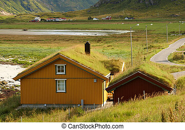 Sod Roofs - Houses with typical sod roof on Lofotten islands...