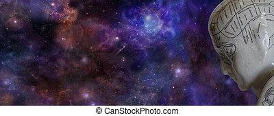 Frenología, cabeza, y, profundo, Space, ,