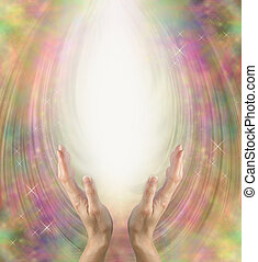 Angelic healing energy - Female hands reaching up into ball...