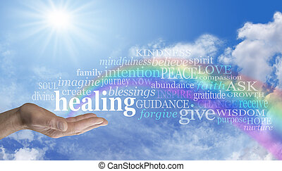 Healing Rainbow Sky Word Cloud - Blue sky and clouds with a...