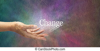 Offering change - Female hand outstretched with the word...