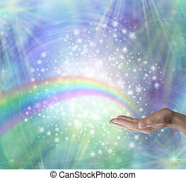 Sending Rainbow Healing Energy - Male hand outstretched palm...