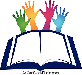 Book and hands logo education vector