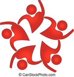 Teamwork people heart shape logo - Teamwork people heart...