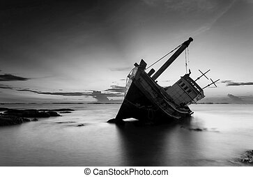 The wrecked ship in black and white, Thailand