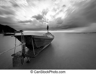 The fishing boat in black and white, Thailand - The fishing...