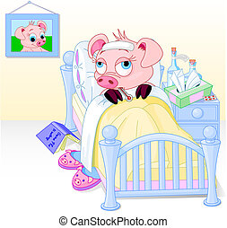 Swine Flu - Cartoon illustration of a pig having the flu