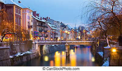 Ljubljana in Christmas time. Slovenia, Europe. - View of...